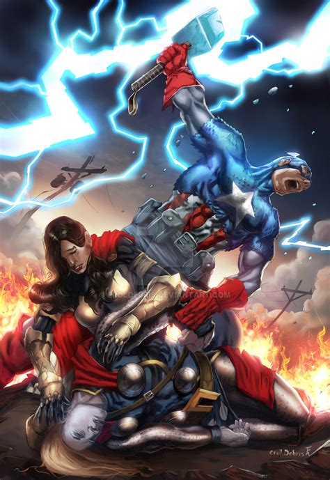 thor captain america sif fear itself colours by