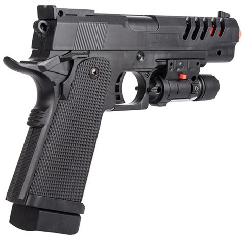 P2004B Spring Powered Skeletonized Airsoft Pistol with Laser