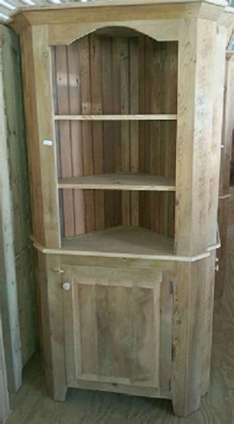 unfinished furniture hutch antique amish built unfinished reclaimed barn wood corner