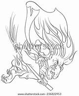 Evil Witch Hag Flying Vector Colouring Shutterstock sketch template