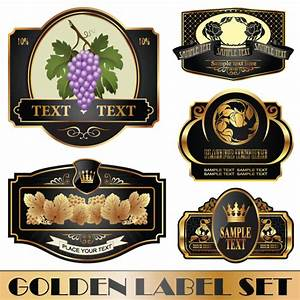 golden bottle of wine labels vector 04 over millions With free wine label template photoshop