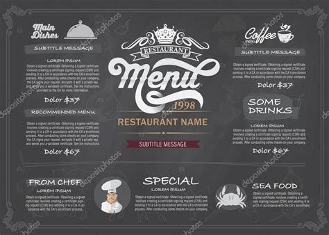 vector layout design menu restaurant template stock