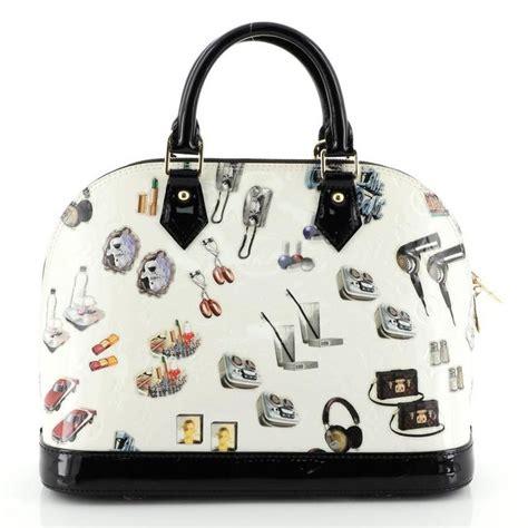 louis vuitton alma handbag limited edition stickers monogram vernis pm  sale  stdibs