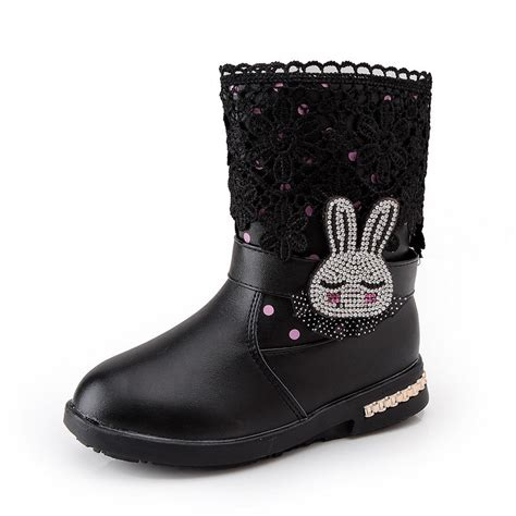 girls kids winter genuine leather princess lace rabbit