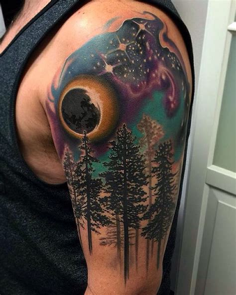 """""""We love this gorgeous #forest #galaxy night sky #tattoo"""