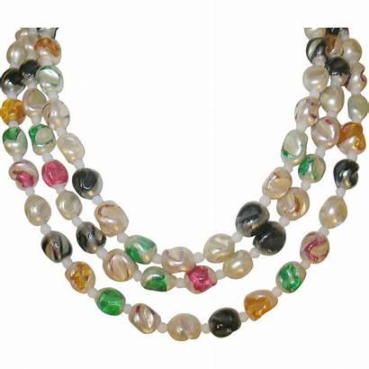 Glass Bead Necklace Czechoslovakian Rubylane Ruby