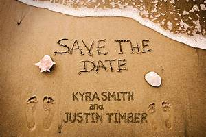 Sandy beach wedding save the dates footprints in the sand for Save the date wedding ideas