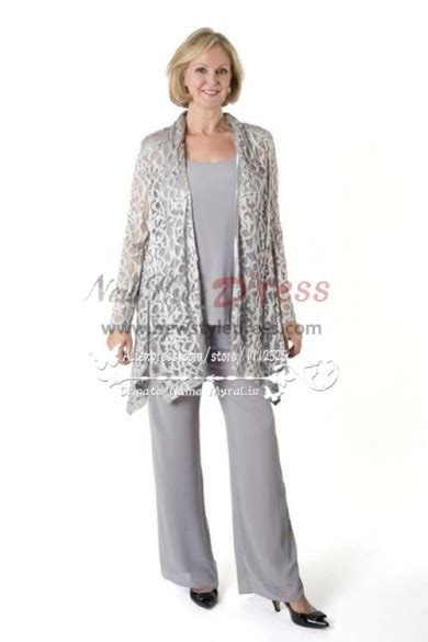 Silver Grey Stretch Lace outfit mother of the bride pant suit nmo-231 - Mother Of Tthe Bride ...