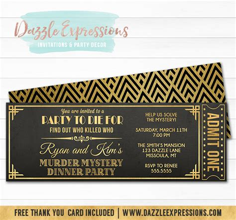 printable murder mystery dinner party ticket invitation