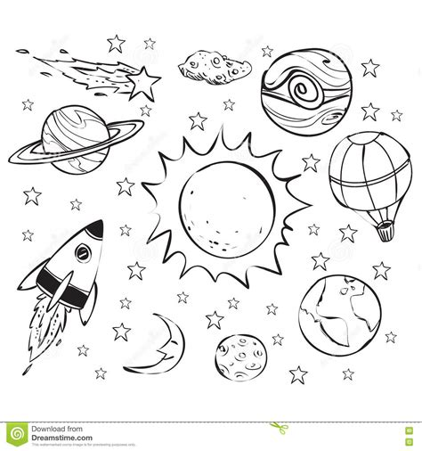 Space Theme Doodle, Black On White Stock Vector