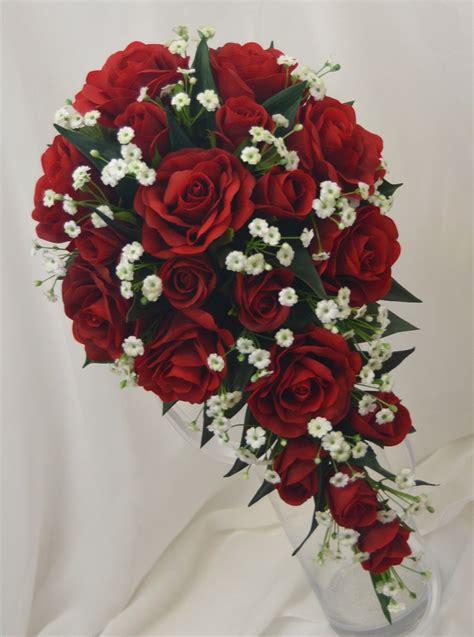 red roses babies breath white diamante garden style