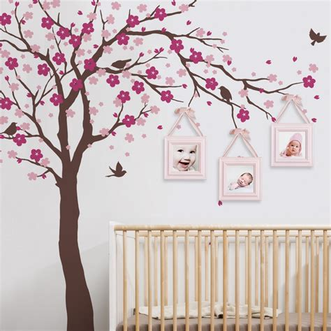 chambre sauthon colors cherry blossom tree wall decals baby room nursery large