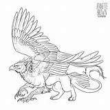 Griffin Lineart Template Mythical Creatures Fantasy Sugarpoultry Gryphon Animal Tattoo Creature Drawing Mythological Griffon Sketches Deviantart Dragon Coloring Pages Line sketch template
