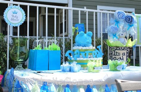 baby shower for a boy decoration table with cake and basket babyshower diapercake