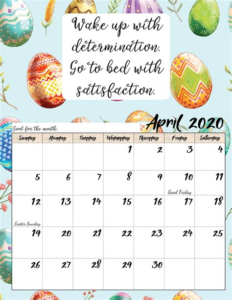 calendar  april  printable template