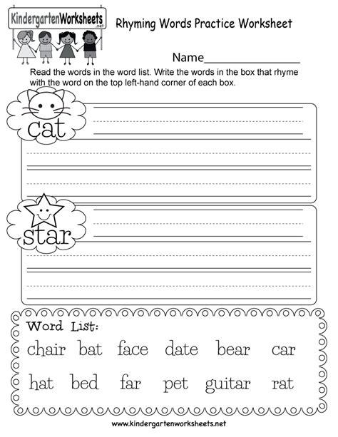 kindergarten worksheet rhyming words kindergarten