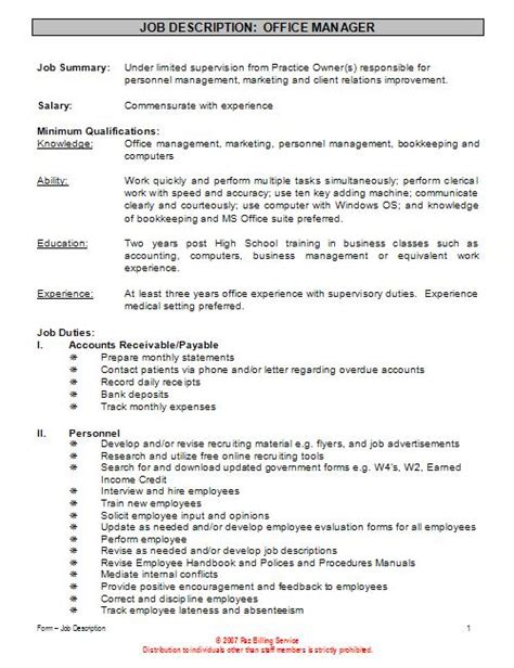 office manager description sles gse