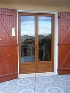 porte fenetre pvc 1 grande bleue mcl amenagement habitat With porte fenetre double vitrage bois