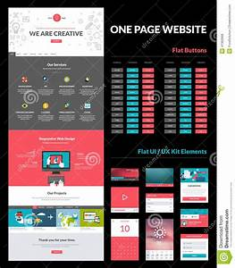 One Page Website Design Template Stock Vector