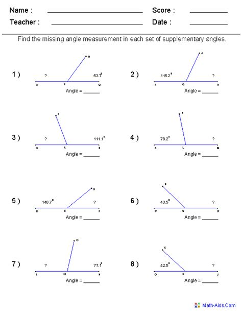 math worksheets for every grade free i it on angles