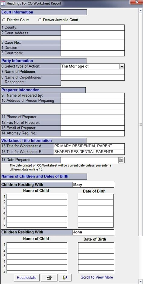 Co Child Support Worksheets