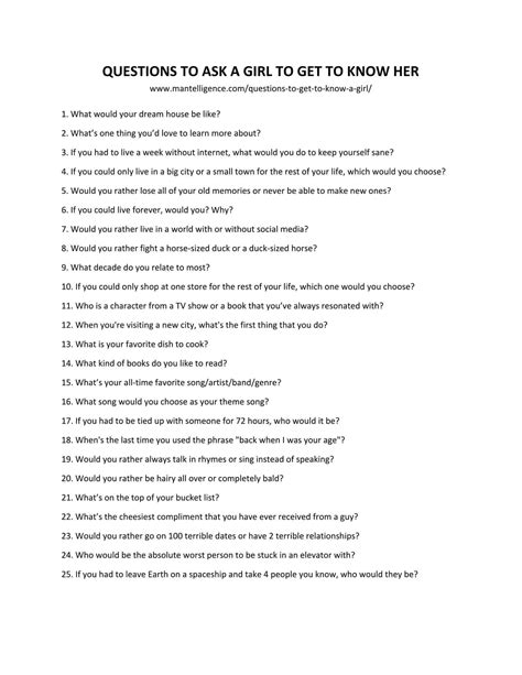 85 Good Questions To Ask A Girl To Get To Know Her