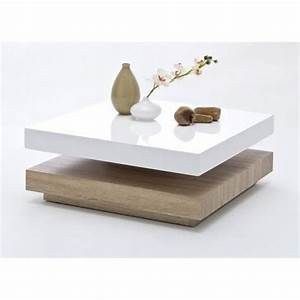 Table Basse Blanc Laqué Et Bois : table basse carree pivotante laque blanc bois margo achat vente table basse table basse ~ Teatrodelosmanantiales.com Idées de Décoration