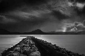 Wallpaper, Landscape, Dark, Sea, Lake, Water, Rock, Nature, Reflection, Sky, Clouds, Calm