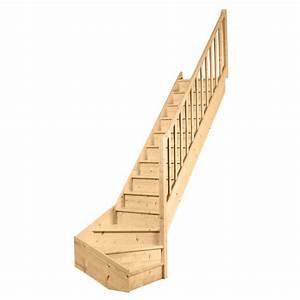 Escalier 1 QT Primo Sapin Massif Rampe Fuseaux Droits