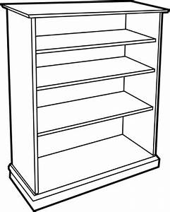 Outline Wooden Furniture Lineart Bookcase Shelf Bookshelf