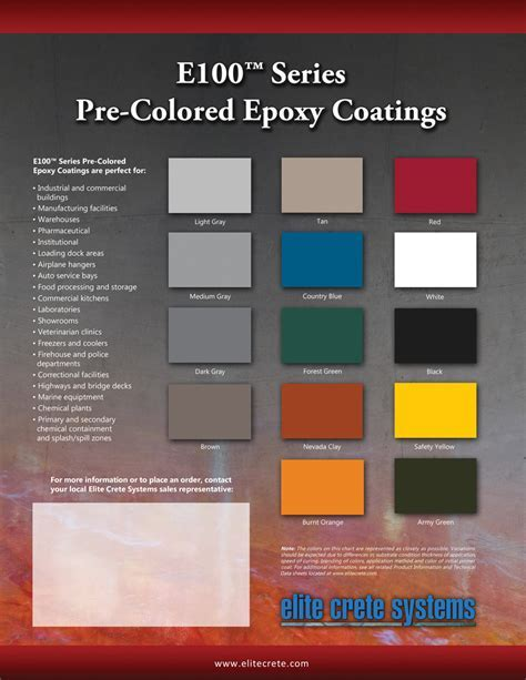 Elite Crete Systems Colour Charts