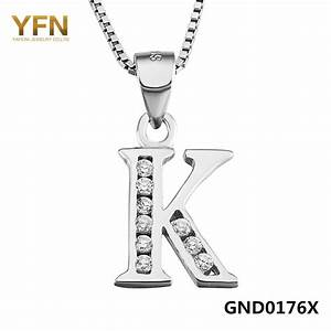 yfn 2016 new fashion genuine 925 sterling silver initial With sterling silver letter k pendant