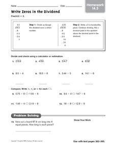 write zeros   dividend worksheet    grade