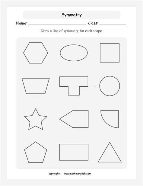 Line Of Symmetry Worksheet For Each Shape Draw A Line Of Symmetry   Teaching Ideas