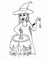 Cauldron Coloring Witch Halloween Halloweenprintables sketch template