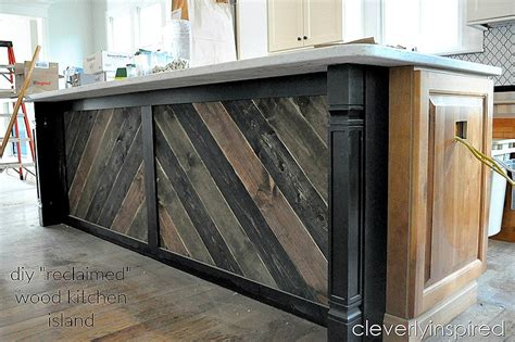 diy reclaimed wood  kitchen island cleverly inspired