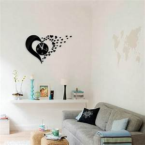 Heart shaped wall clock mirror stickers decal modern