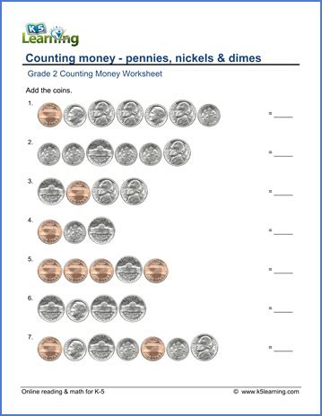 grade 2 counting money worksheets pennies nickels and dimes k5 learning