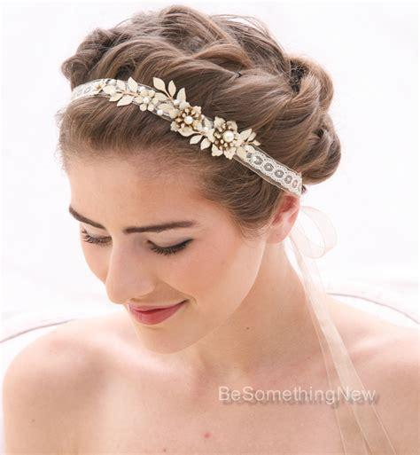 champagne  ivory wedding tie headband  wedding dress