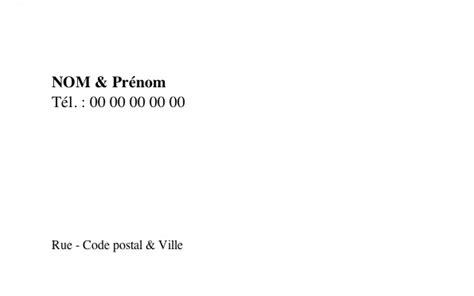 modèle carte de visite personnelle carte de visite personnelle modele