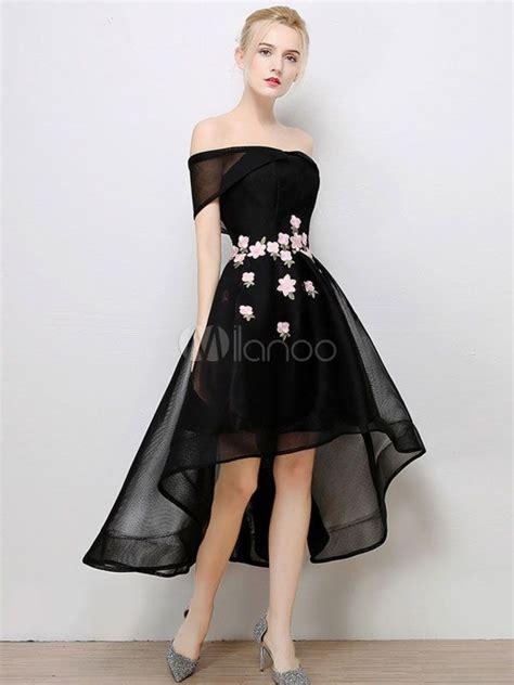 12760 Low Shoulder Flower Dress prom dress black high low cocktail dress the