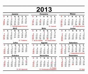 Calendário 2013 com as datas comemorativas Vale o Clique!
