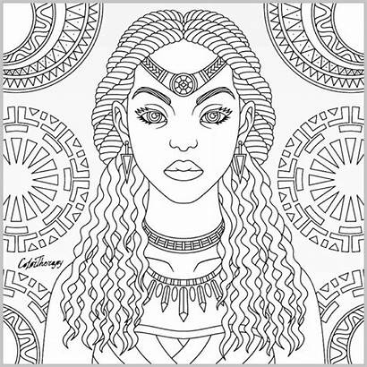 Coloring Pages Adult Tribal Queen Adults Afro