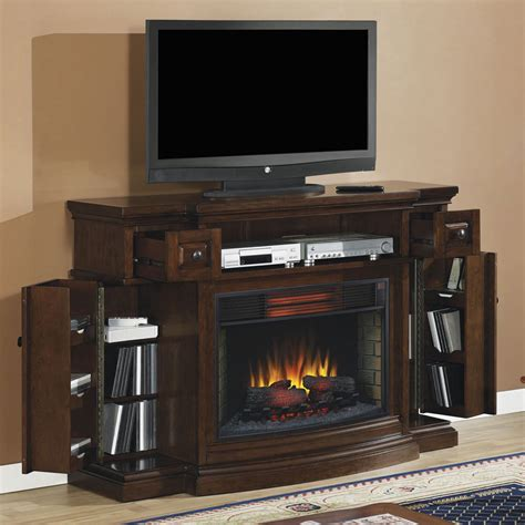 inspirations electric fireplace tv stand lowes