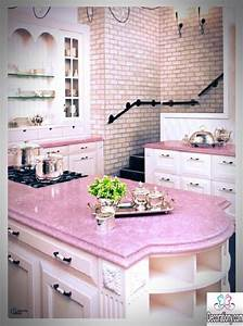 25 nice kitchens decorating ideas with a pink color kitchen With kitchen colors with white cabinets with pink wall art decor