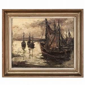 Vintage Framed Oil Painting on Canvas at 1stdibs