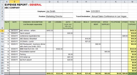 Expense Report Template 7 Expense Report Template Excelreport Template Document