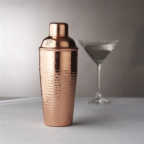 cocktail shaker personalised initials hammered copper cocktail shaker by