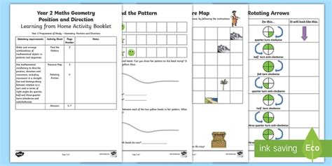 year 2 maths position worksheets year 2 maths geometry position and movement home learning activity booklet