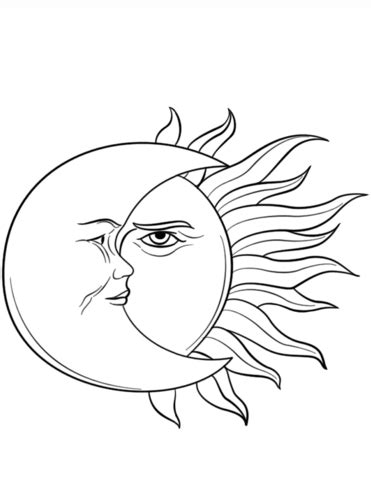 Sun and Moon Coloring page   Moon coloring pages, Sun